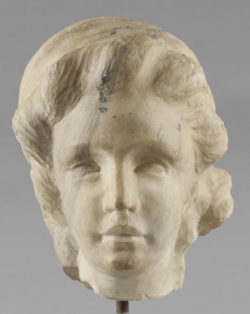 Testa di donna, scultura in marmo, Roma