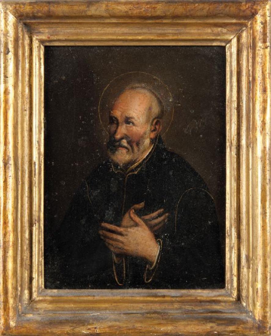 """""""Ritratto di Santo con mani giunte"""" olio su rame"""
