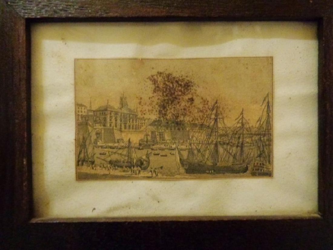 Piccola stampa raffigurante il porto di Genova