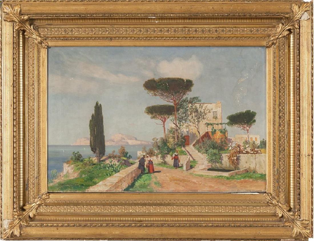 "Scuola napoletana sec.XIX ""Veduta costiera"" olio"