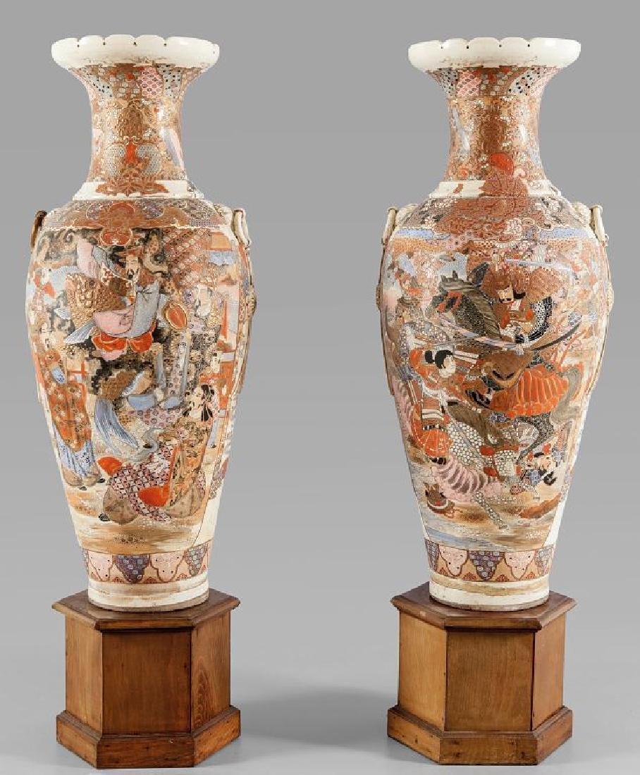 Coppia di vasi Satzuma in porcellana policroma