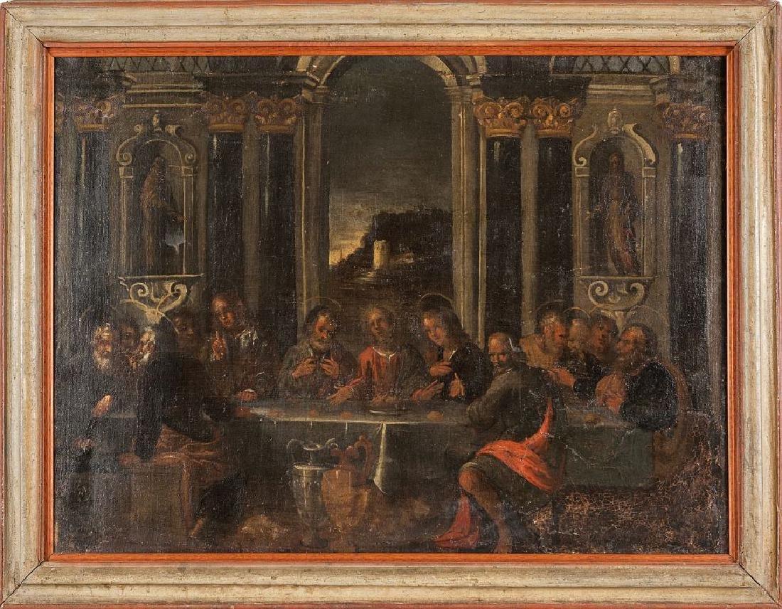 """Scuola veneta sec. XVIII """"L'ultima cena"""" olio"""