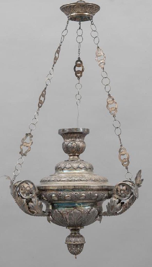 Lampada votiva in argento recante iscrizione