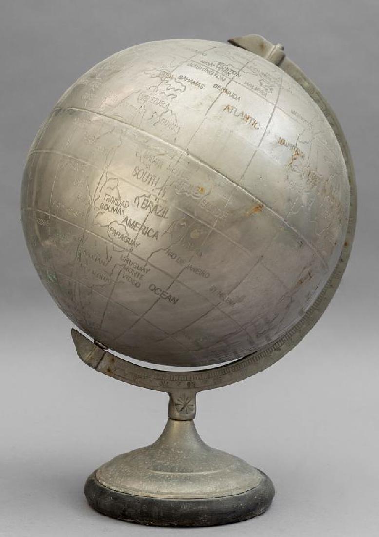 Mappamondo in acciaio h.cm.40
