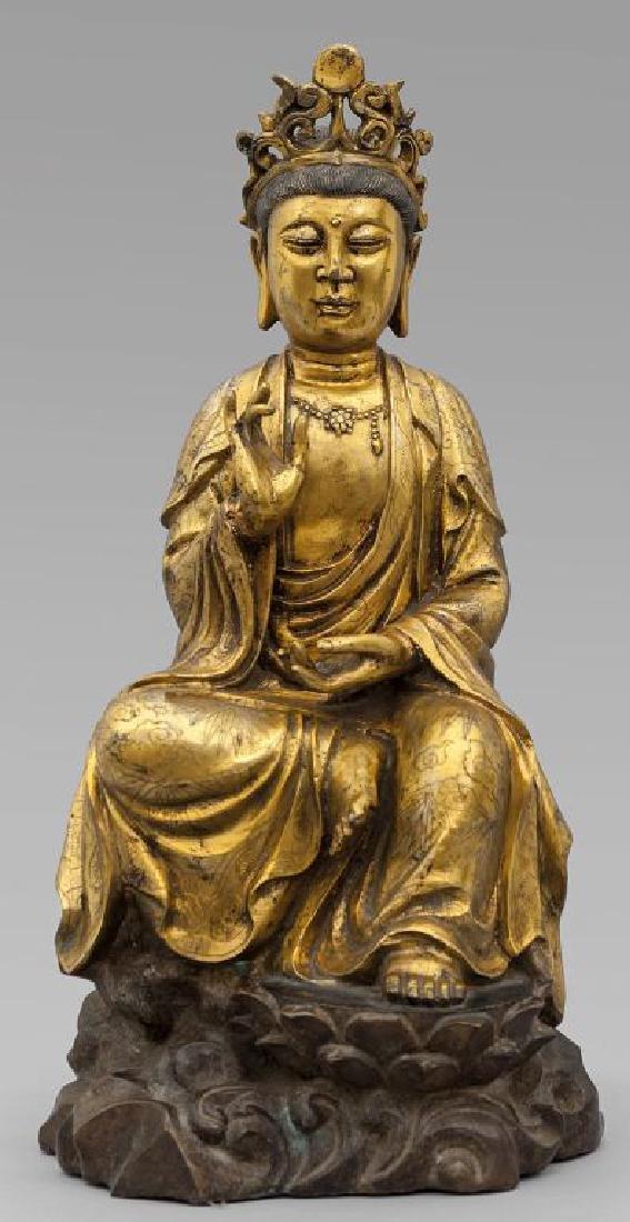 Grande scultura in bronzo dorato raffigurante
