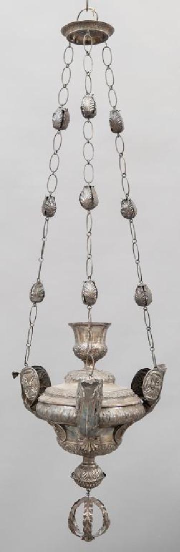 Lampada Luigi XVI votiva in argento, parte
