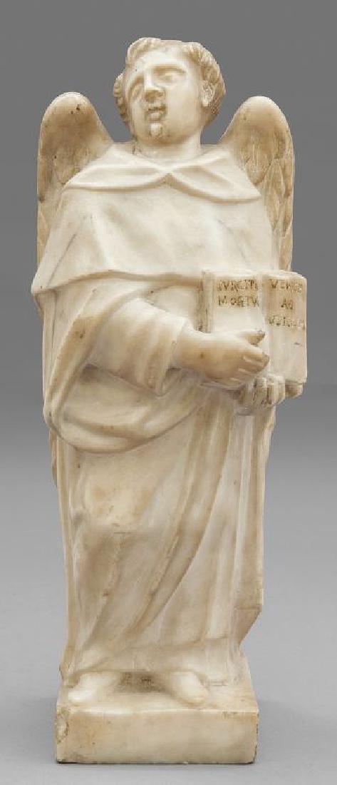 Angelo con libro, scultura in marmo bianco,