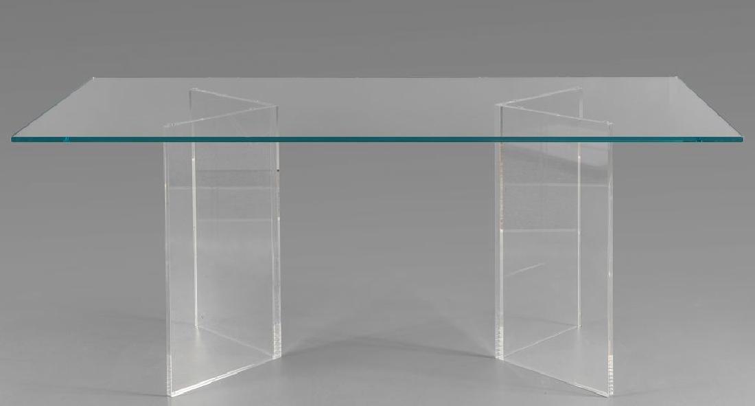 Tavolo moderno con piano in cristallo spessore 15