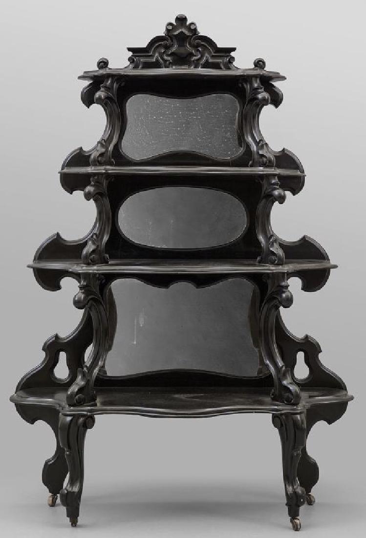Etagere Luigi filippo in legno laccato nero,