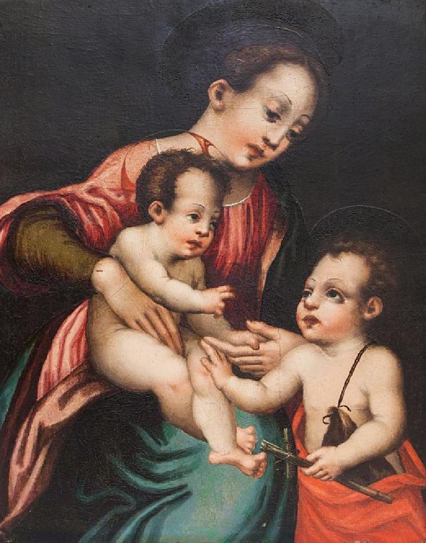 """Scuola toscana sec.XVII """"Madonna con Bambino e"""