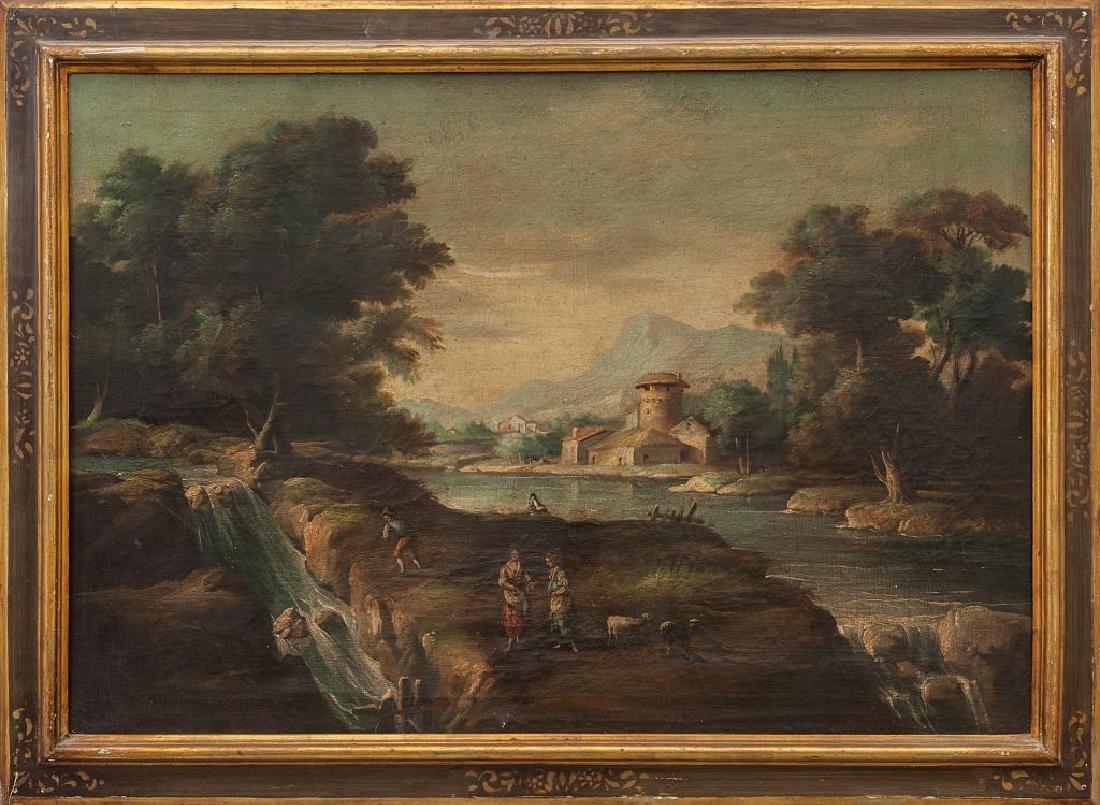 """Scuola italiana sec.XX """"Paesaggio con fiume e"""