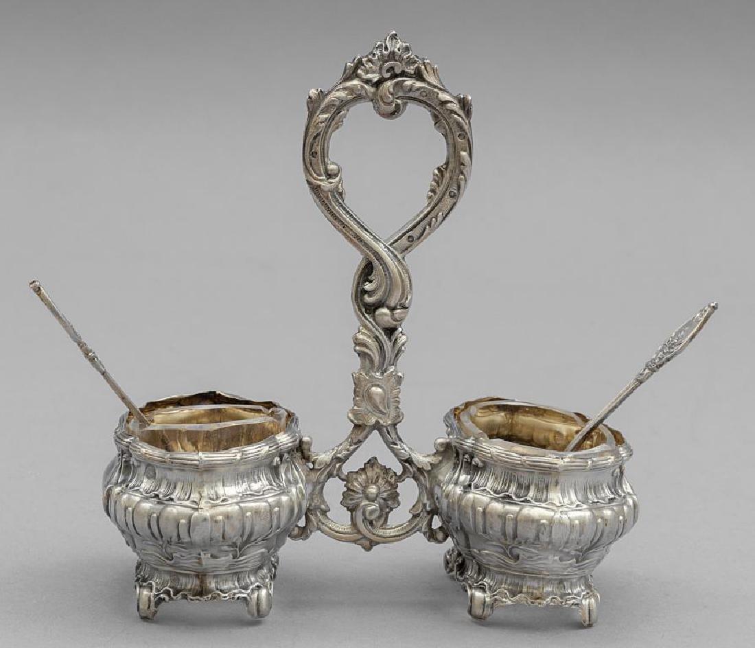 Saliera in argento con cucchiaini, custodia