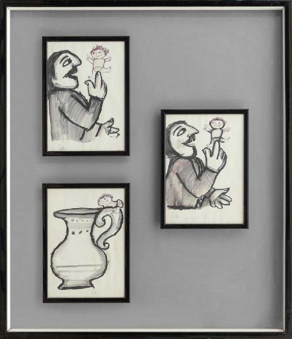 EMANUELE LUZZATI (1921-2007)  tre carboncini