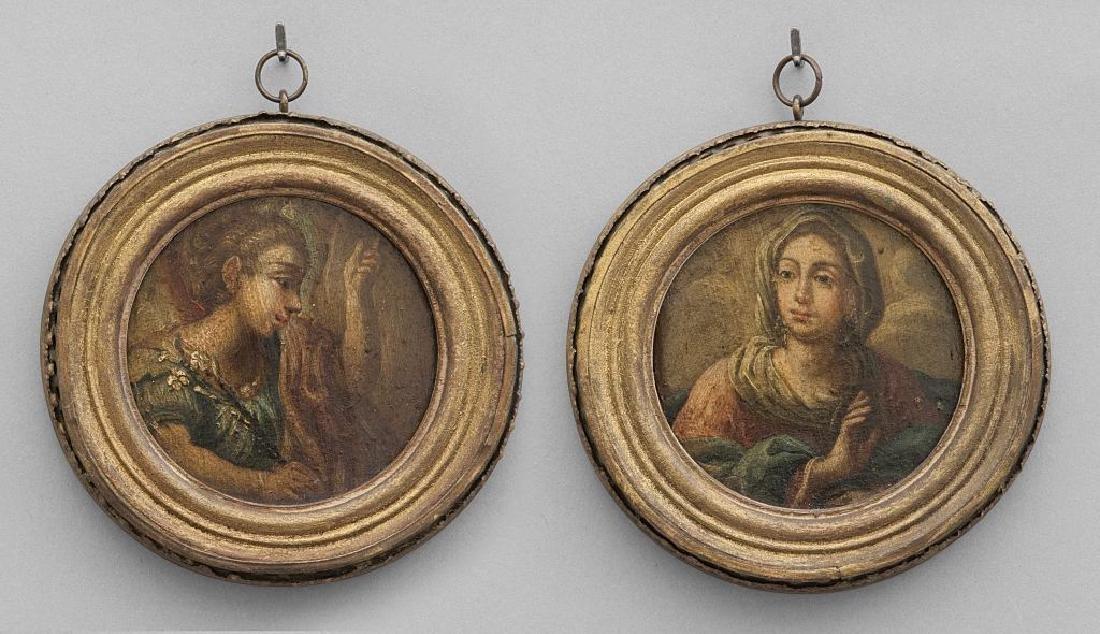 """Scuola romana sec.XVII """"Annunciazione"""" coppia di"""