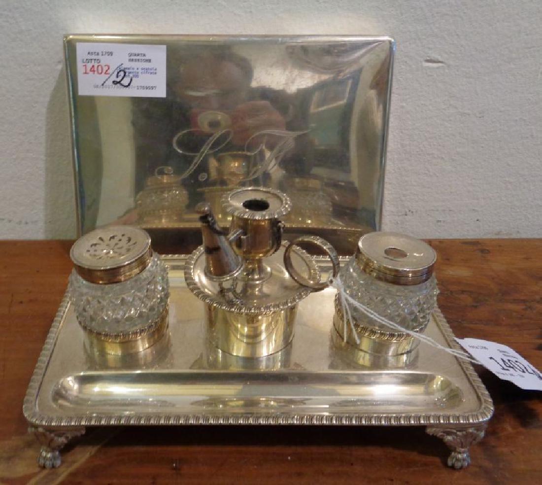 Calamaio e scatola in argento