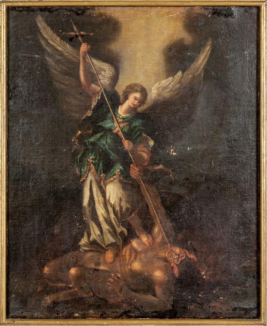 """L'Arcangelo Michele"" olio, fine sec.XVII cm."