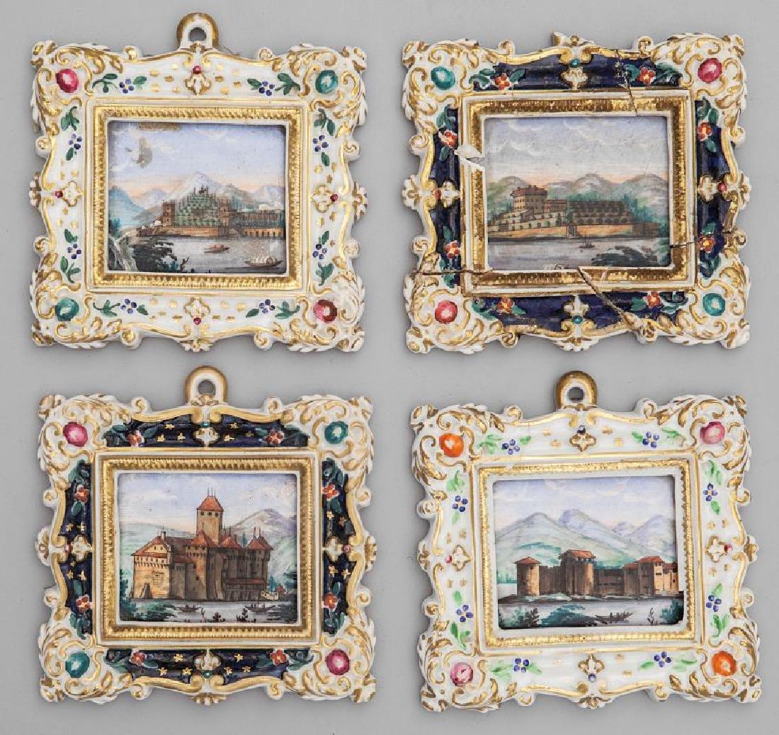 Quattro dipinti su porcellana raffiguranti
