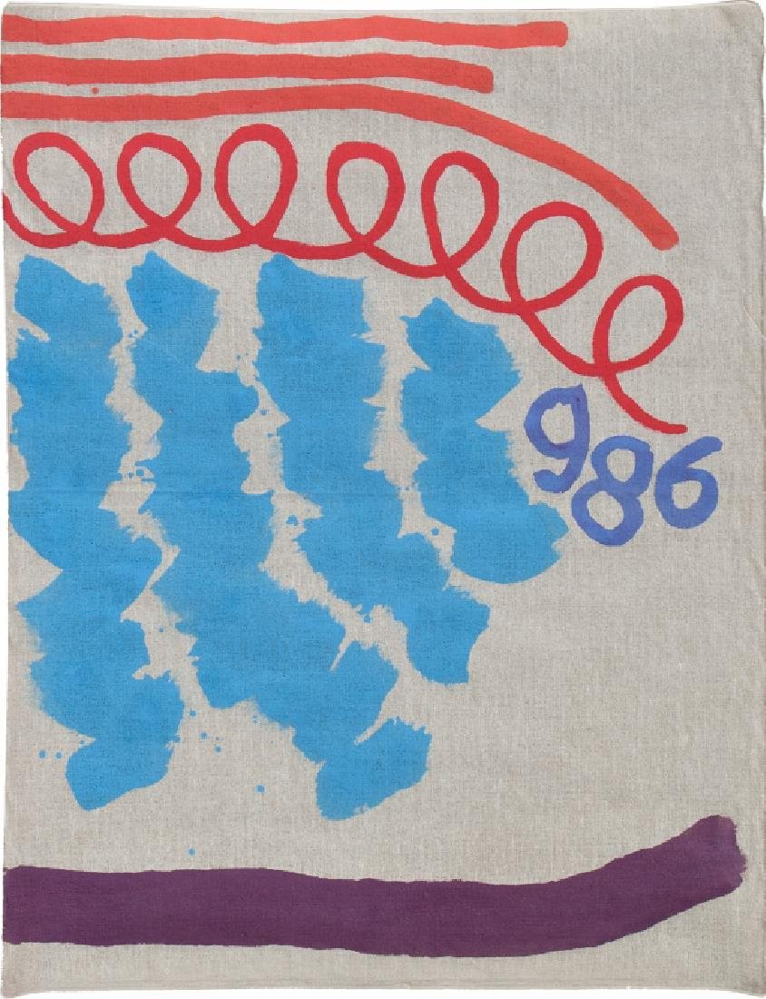 GIORGIO GRIFFA (1936-)  Tre linee con arabesco