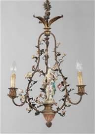 Piccolo lampadario a tre luci in ferro con fiori