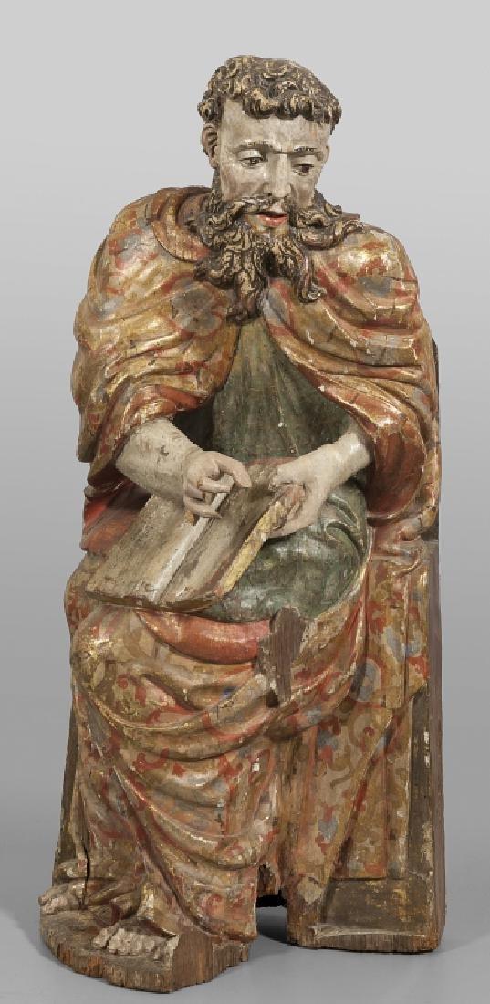 Evangelista, scultura in legno laccato, Genova