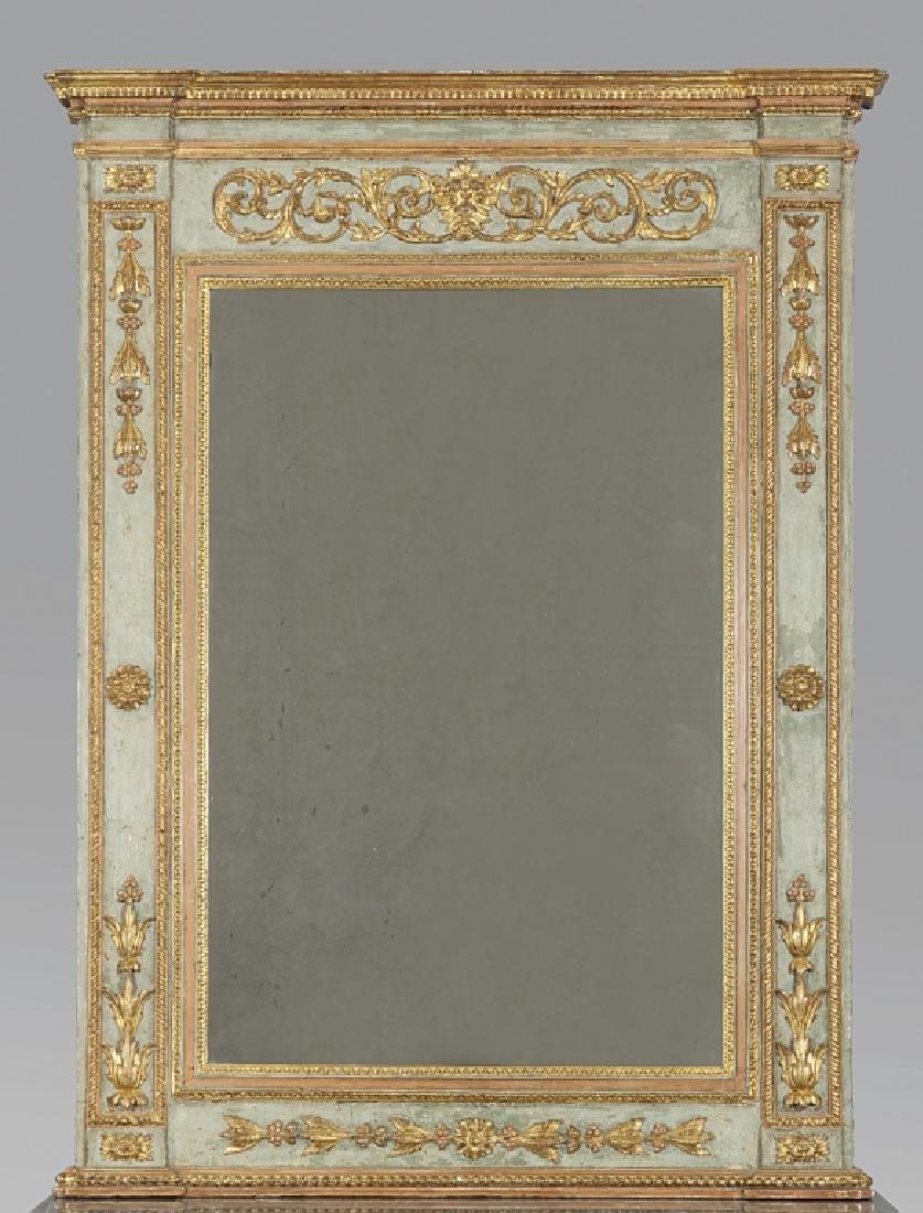 Caminiera Luigi XVI in legno intagliato, dorato e