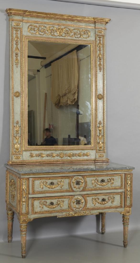 Caminiera Luigi XVI in legno intagliato, dorato e - 2