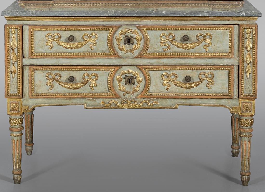 Comò Luigi XVI a due cassetti in legno riccamente