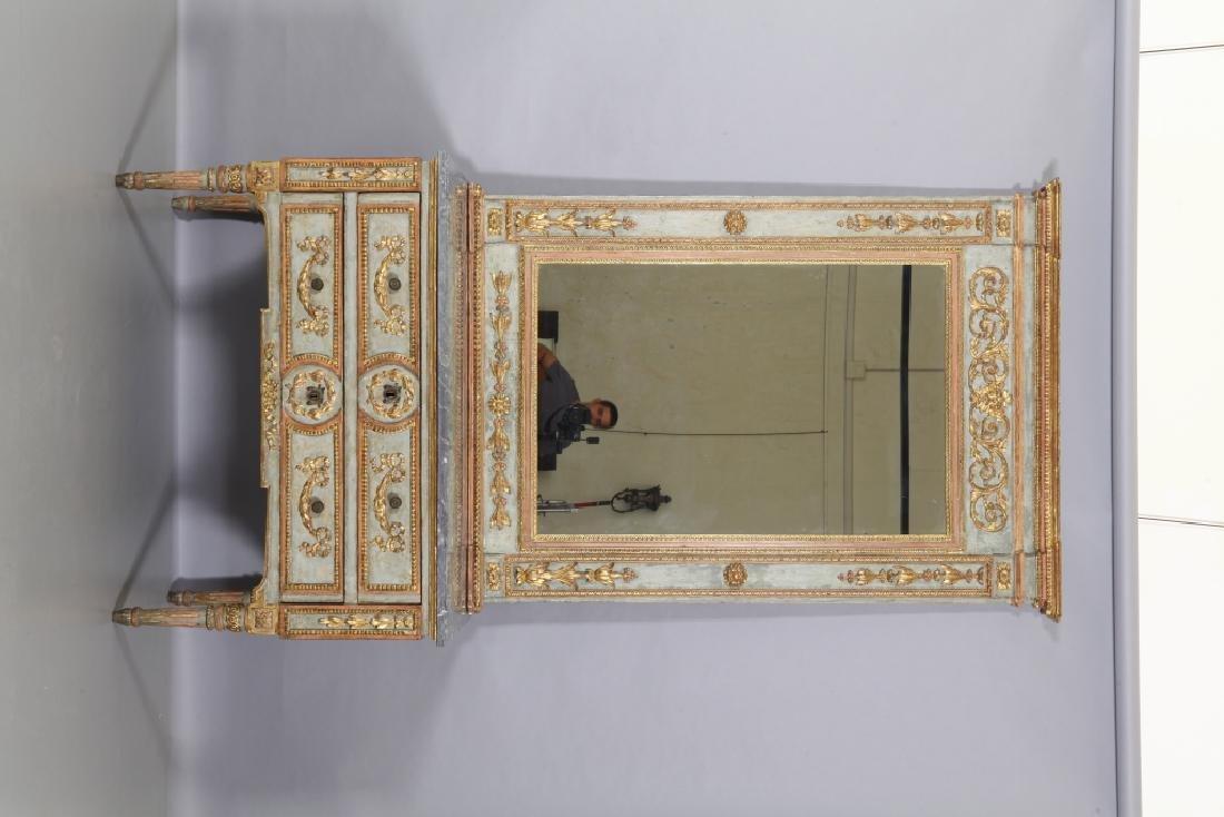 Comò Luigi XVI a due cassetti in legno riccamente - 2