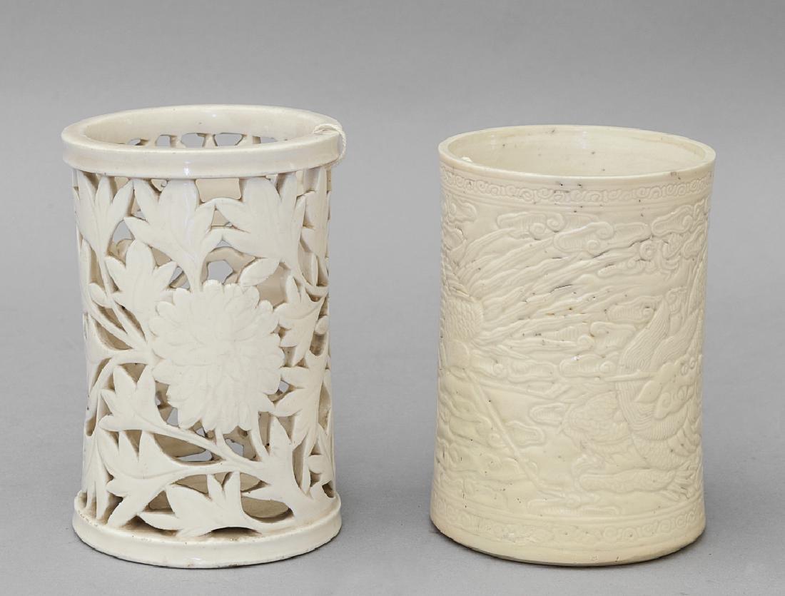 Due portapennelli in porcellana, Cina