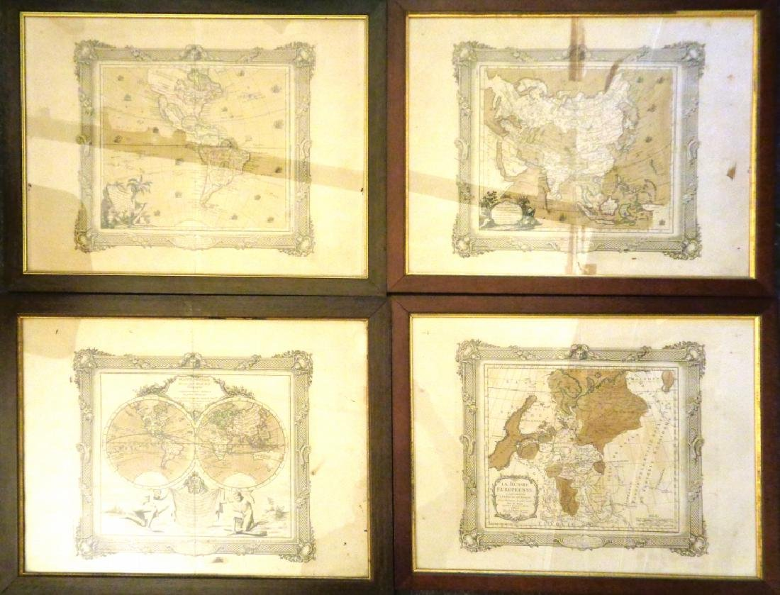 Quattro stampe raffiguranti carte geografiche,