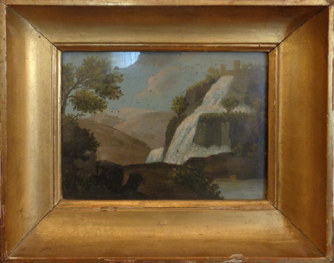 """Scuola italiana sec.XIX """"Veduta di cascata"""" olio"""