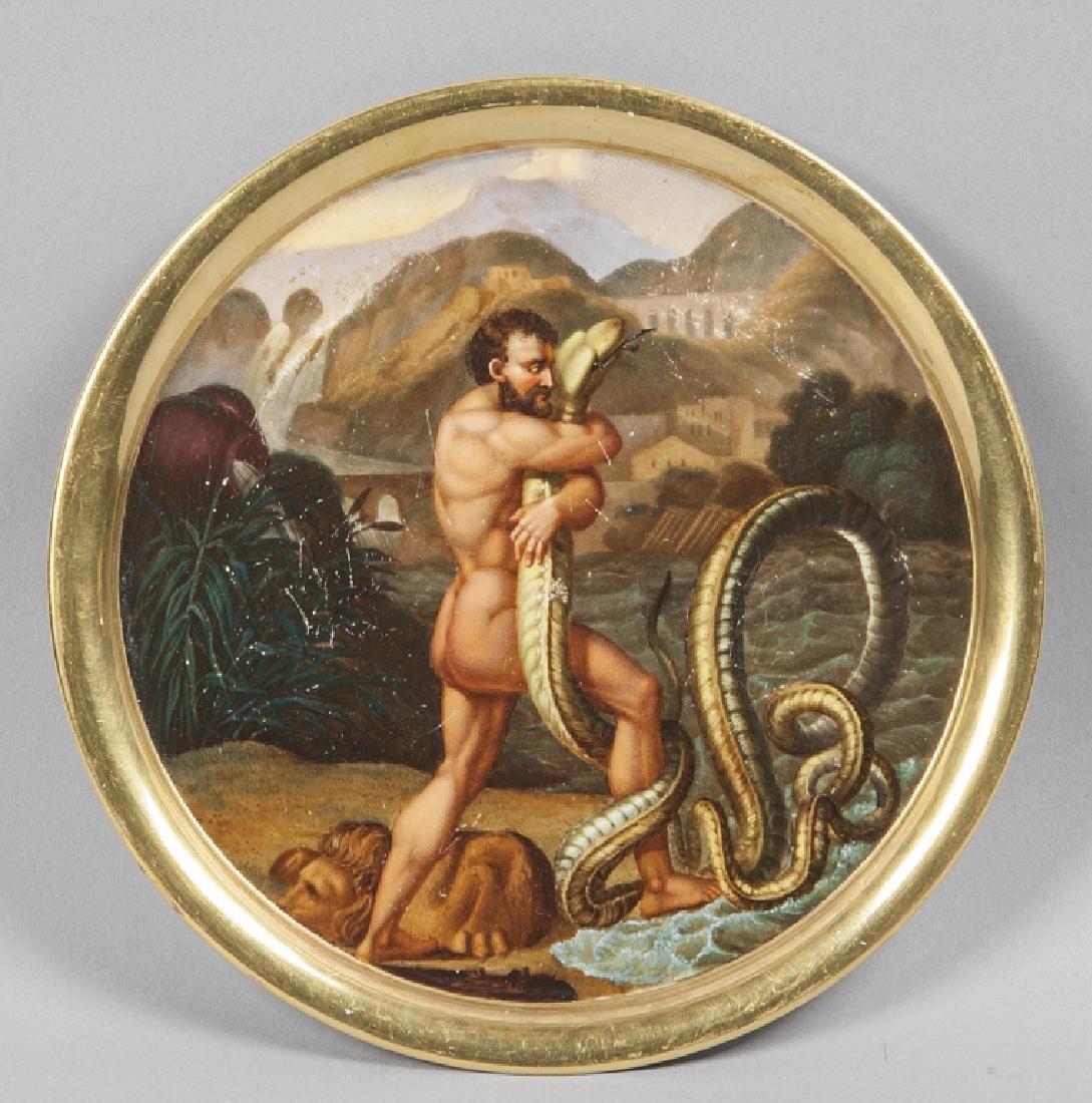 Piatto in porcellana policroma raffigurante