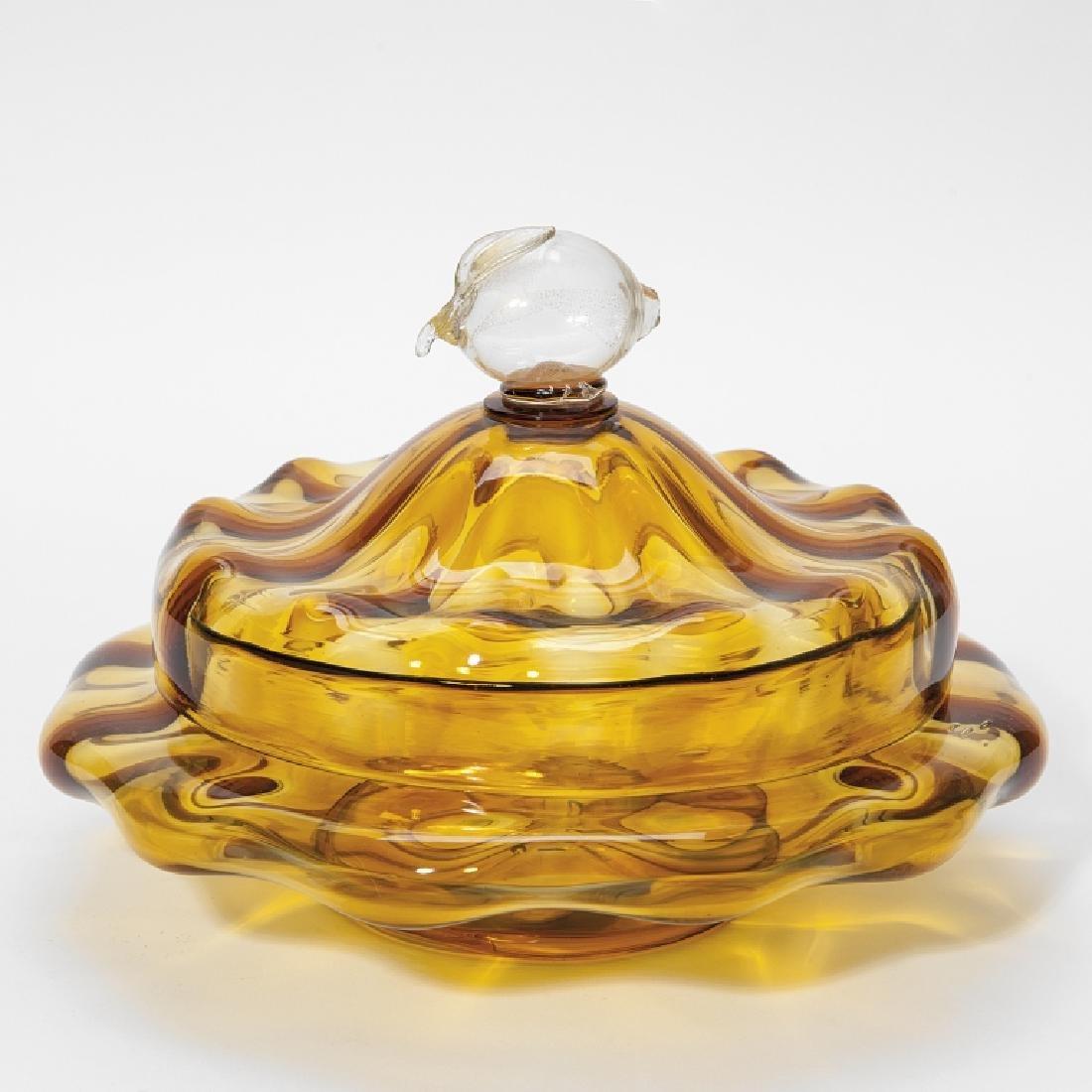 MVM CAPPELLIN Una compostiera in vetro ambra,