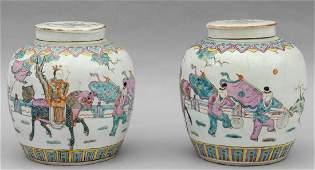 Coppia di vasi con coperchio in porcellana