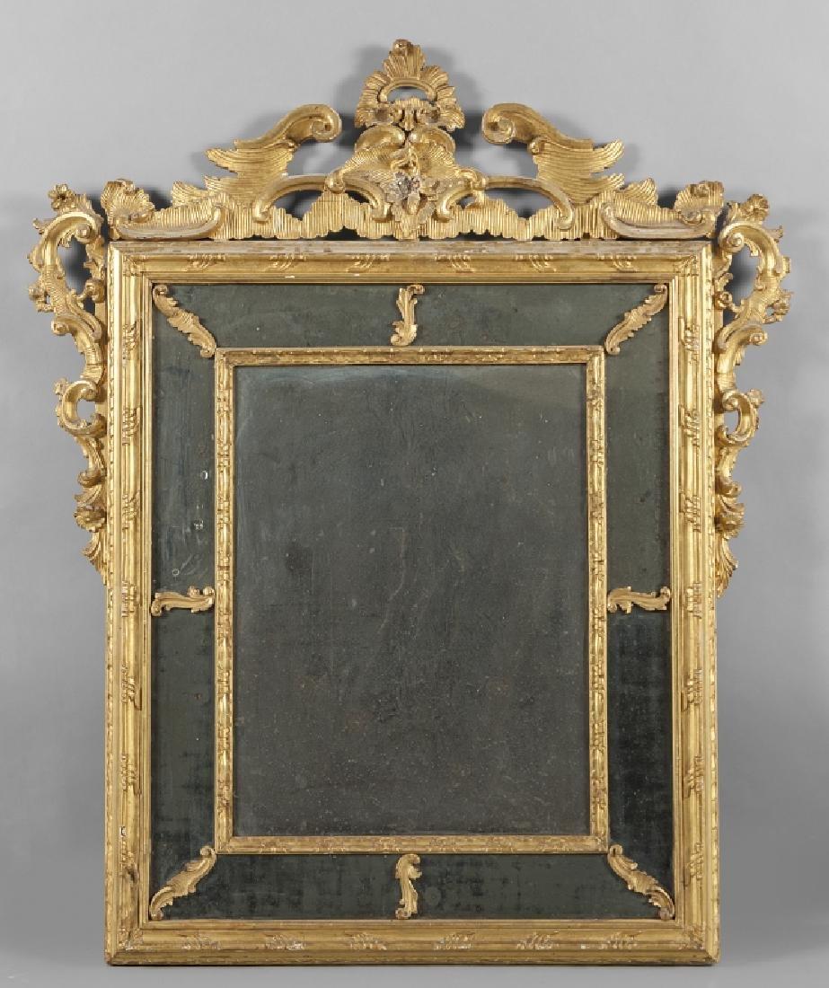 Specchiera Luigi XIV in legno intagliato e