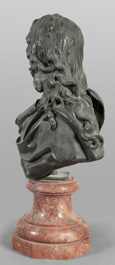 Antico busto in bronzo a patina scura - 2
