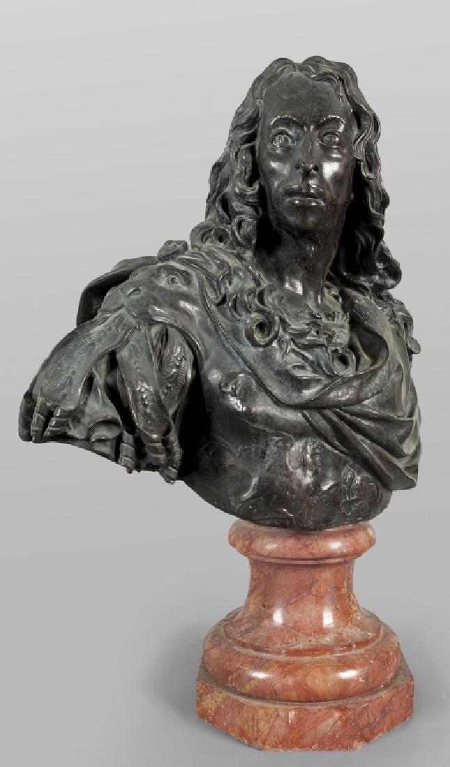 Antico busto in bronzo a patina scura - 5