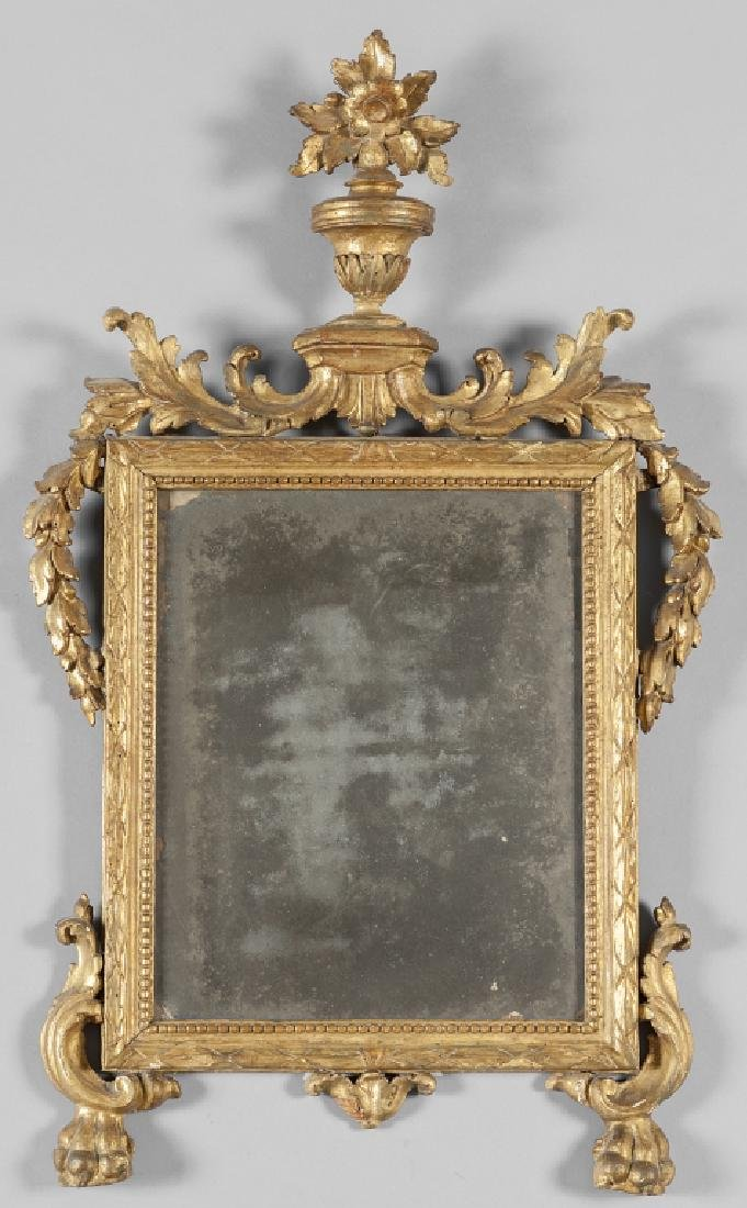 Specchierina Luigi XVI in legno intagliato e