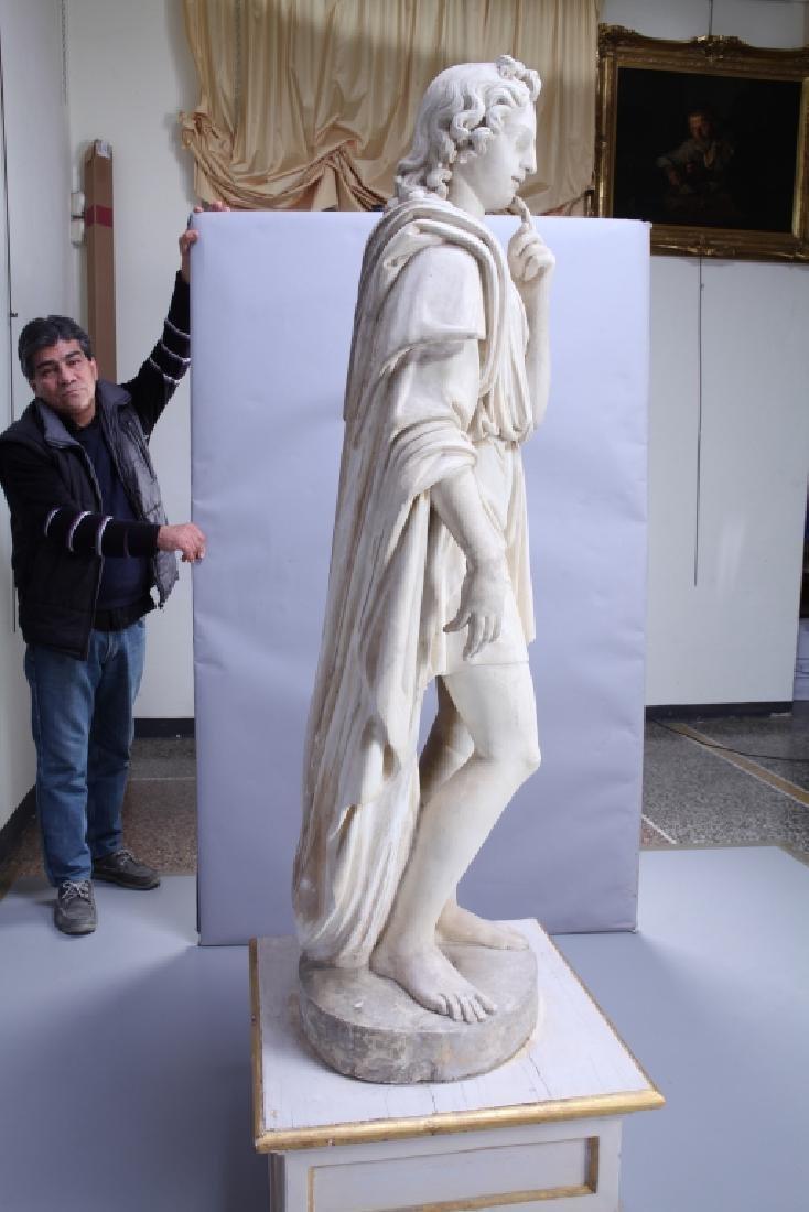 Apollo, importante e grande scultura in marmo - 4