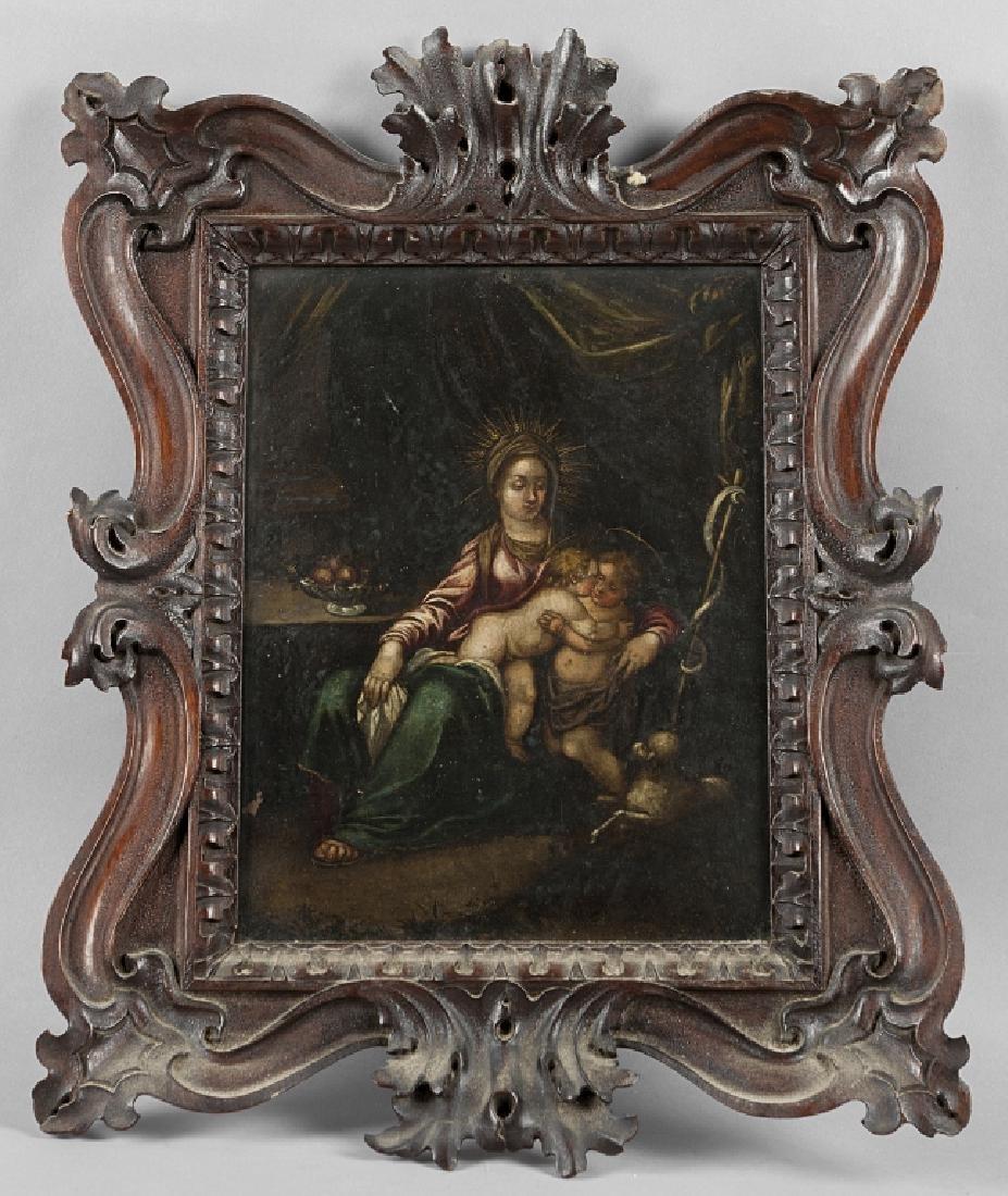 """Scuola italiana sec.XVII """"Madonna con Bambino e"""