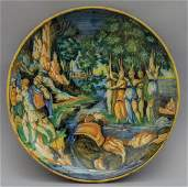 Alzata in ceramica policroma con donne