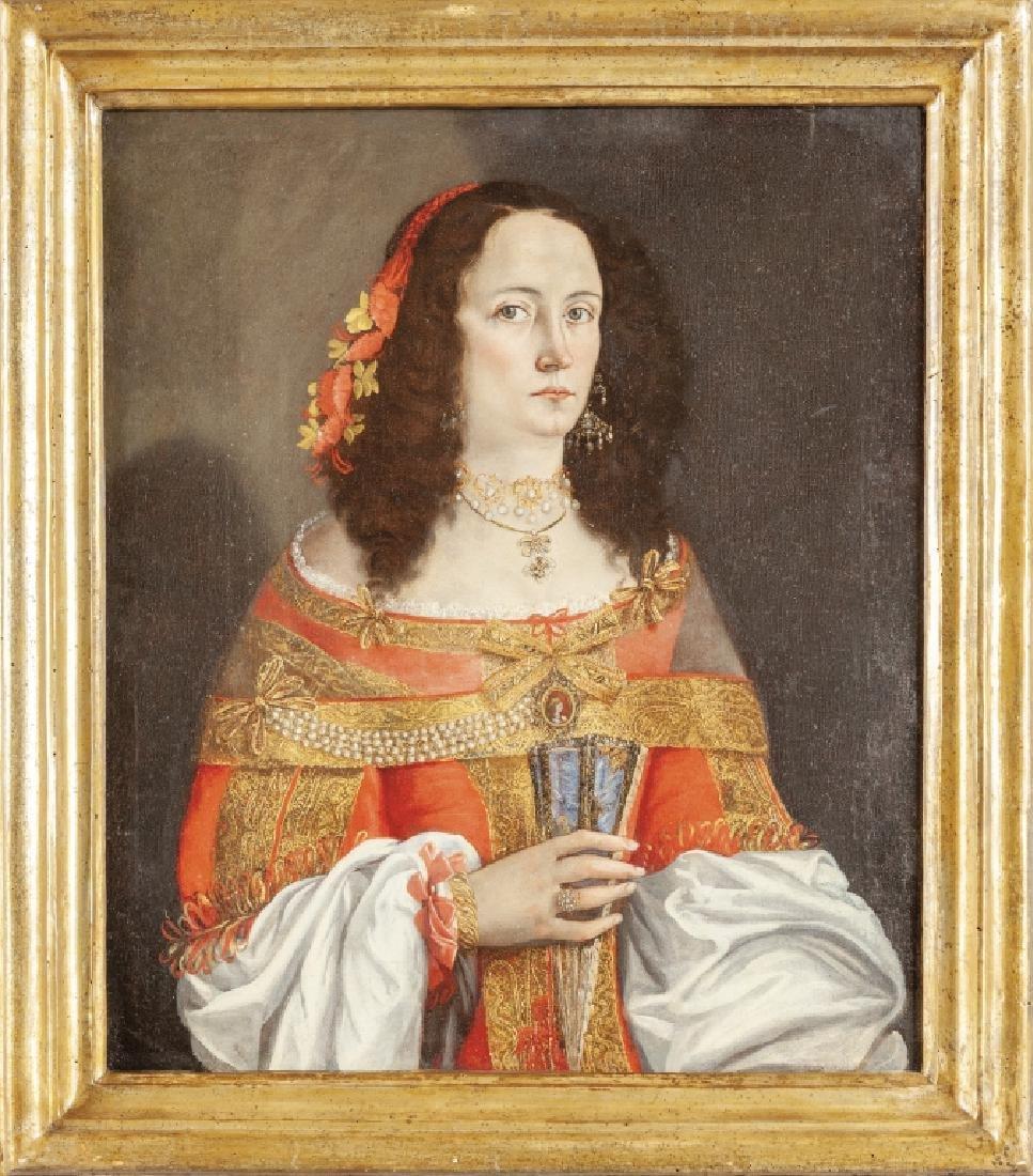 """Scuola lombarda sec.XVII """"Donna elegante con"""