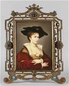 Placca in porcellana raffigurante giovane signora