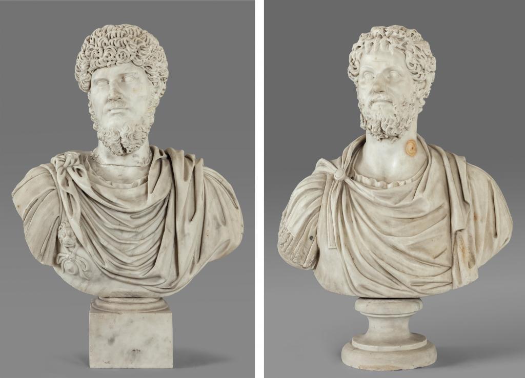 Coppia di busti in marmo statuario raffiguranti