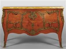 Comò in stile Luigi XV a due cassetti, ricca