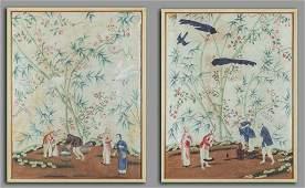 Coppia di pannelli su carta di riso raffiguranti