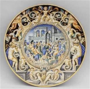 Piatto istoriato in maiolica con raffigurazione