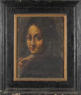Scuola veneta secXVIII Giovane scrittore olio