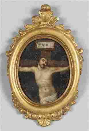 Scuola italiana secXVII Cristo olio su rame di