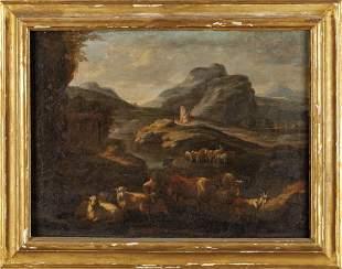 Scuola genovese secXVIII Paesaggio con armenti